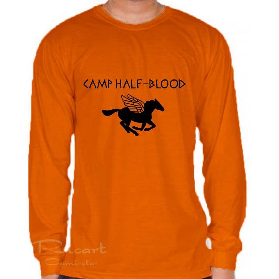 Camiseta Manga Longa Camp Half Blood Meio Sangue P Jackson