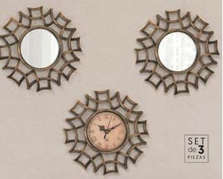 Set Decorativo 2 Espejos Y 1 Reloj Egipcian