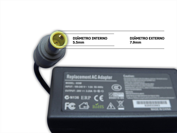 Fonte Carregador Notebook - Lenovo 20v 3.25a - 7.9x5.5mm