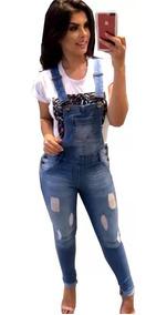 Macacão Jardineira Jeans Feminino Lixado Plus Size
