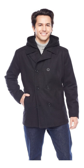 Abrigo Kenneth Cole New York Double Breasted Contrast Hooded