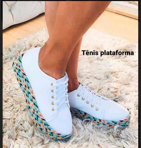 Tênis Plataforma Feminino Decorado Lançamento Moda