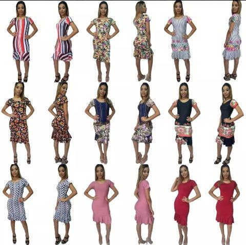 Kit 10 Vestido Feminimo Com Babado Atacado