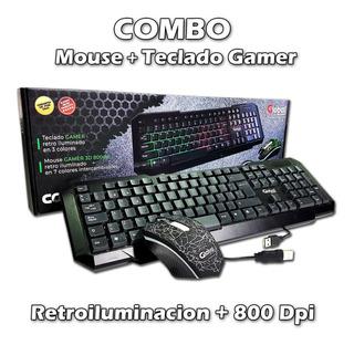 Combo Teclado Retroiluminado + Mouse Gamer Luces Led 800 Dpi