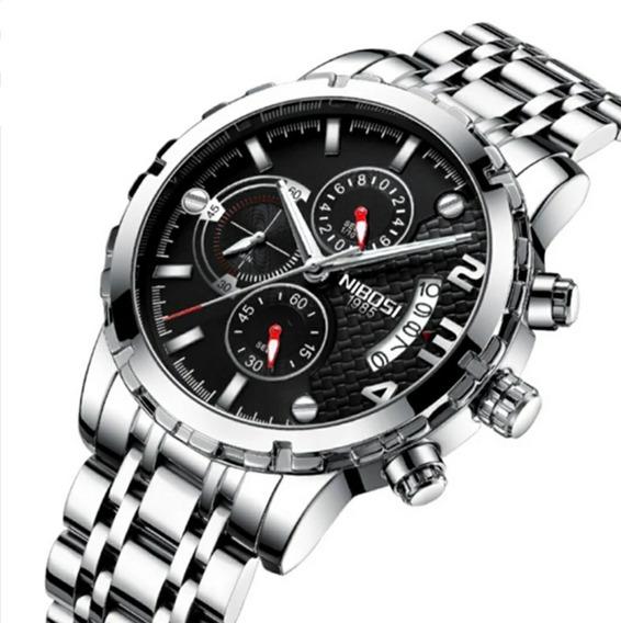 Relógio Masculino Prata Ultra Resistente Vidro Hardlex 100% Funcional