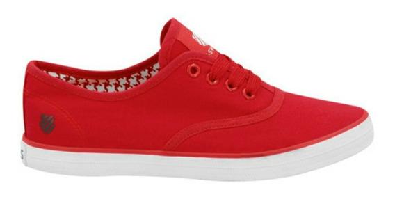 Sneaker K-swiss Rojo Negro Blanco Vino Y Maquillaje