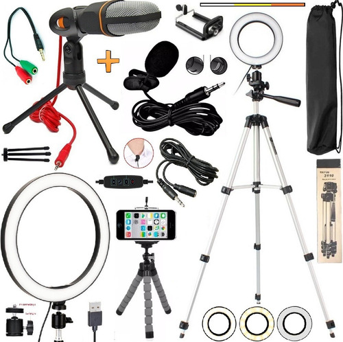 Kit Youtuber Lapela Microfone Condensador Mesa + Tripé 1,30m