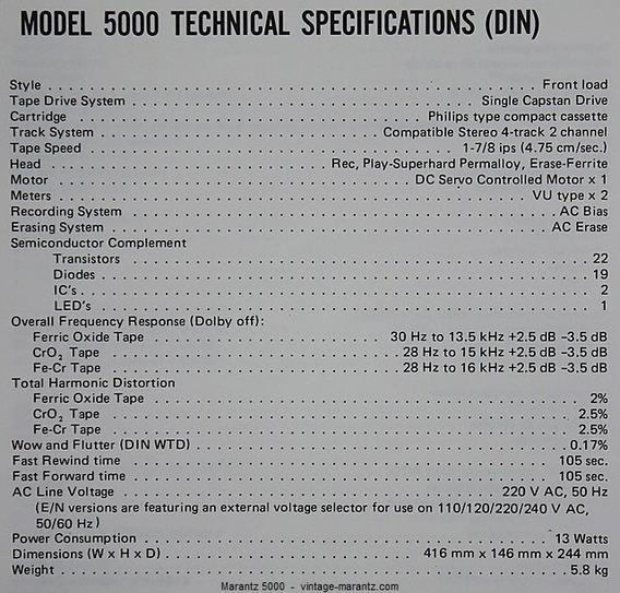 Marantz Tape Deck 5000 Ou 5010 Ou 5025 - Esquemas Ou Manual