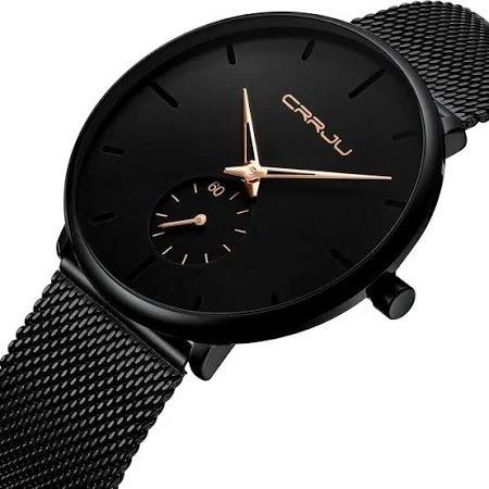 Relógio Crrju Unisex Aço Inoxidável Luxo