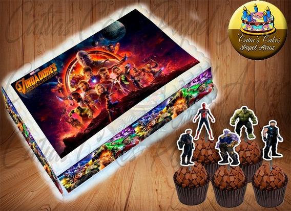 Papel Arroz +04 Faixas +50 Topper Vingadores Guerra Infinita