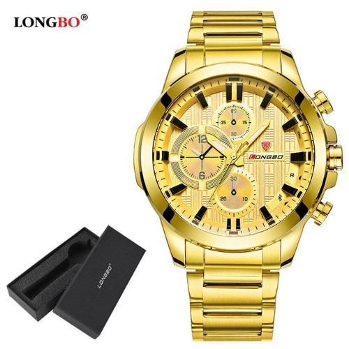 Relógio Longbo Top Aço Inox Dourado Masculino Caixa Social