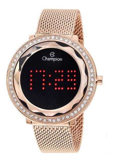 Relógio Champion Feminino Digital Led Ch48000p Rose Negativo
