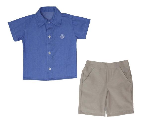 Conjunto Infantil Menino Tam: Pmg Azul/creme Katitus 1377