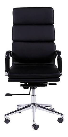 Cadeira De Escritório Alta Com Base Cromada - Preto - Tommy