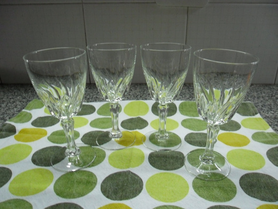 4 Copas De Vidrio Tallado, Hermosas