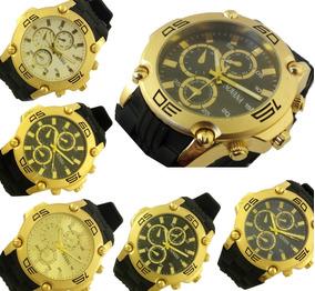 Relógio Masculino Novana Preto E Dourado Pulseira Borracha