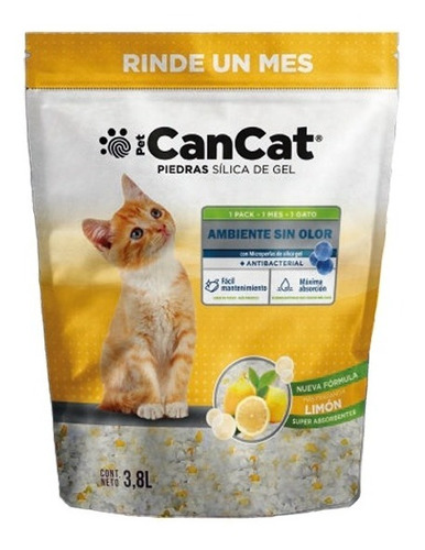 Piedras Sanitarias Can Cat Silica Gel Limon 3,8 Lts Gato