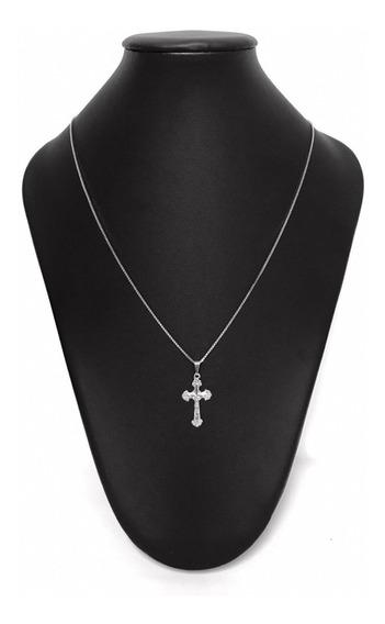 Corrente Veneziana 70 Cm C/ Crucifixo Banhada A Ródio Branco