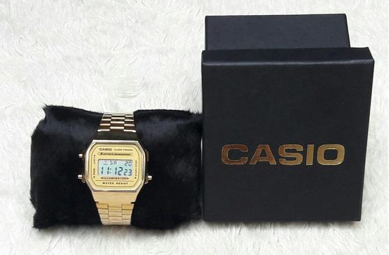 Relógio Pulso Dourado Unissex Vintage Retrô