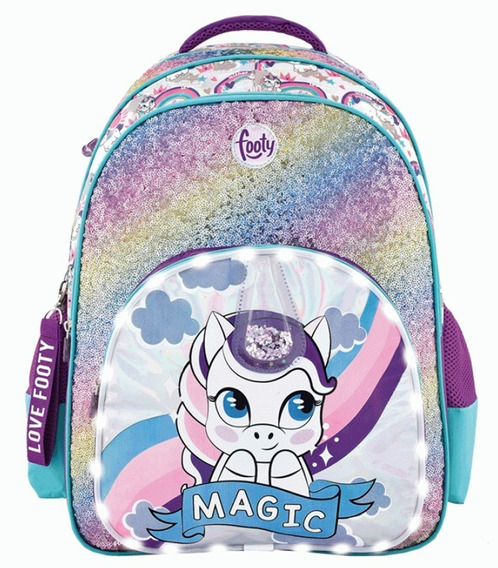 Mochila Footy 18p Unicornio Magic Fucsia C/luz Led F1313