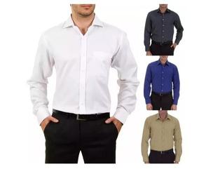 47ab9ad8db Camisa Social Masculina Manga Longa Branca Uniforme + Brinde