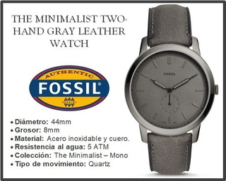 Reloj Fossil The Minimalist Two-hand Gray Leather