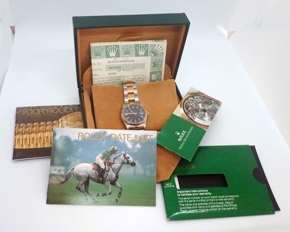 Rolex Datajust 36mm Aço E Ouro - Safira - Completo - Ano 94