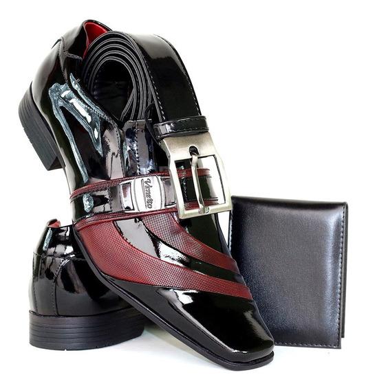 Sapato Social Envernizado Em Couro Legítimo-cinto+carteira