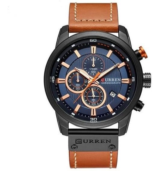 Relógio De Luxo Pulseira De Couro Curren