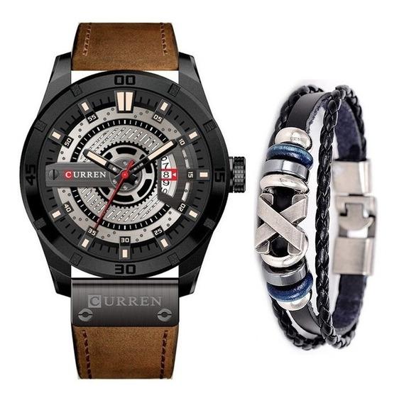 Relógio Masculino Original Curren Esportivo + Pulseira Couro