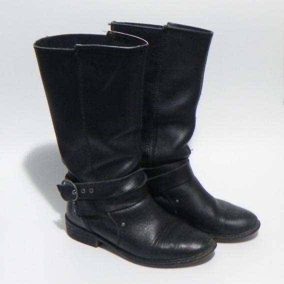 Botas Cuero Auténtico Negro Zara España #cl