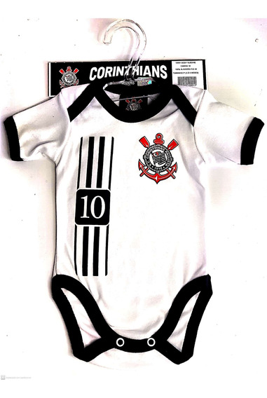 Body Manga Curta Branco Oficial Corinthians Camisa 10