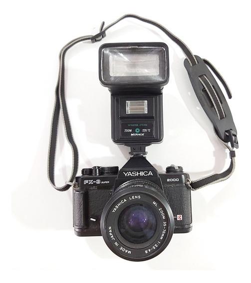 Câmera Retrô Yashica Fx3 Super 2000 - Com Lente E Flash
