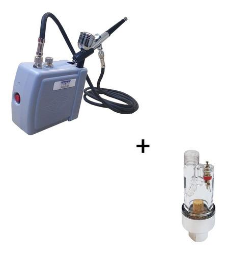 Kit Aerografo Hs08ac-skc 12v+aerografo Barbeiro+filtro