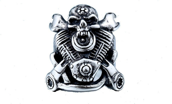 Anel Mechanic Skull Moto Motociclista Aço Inoxidável 316 L