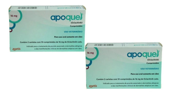Apoquel Dermatológico Cães 16 Mg - 2 Cx 20 Comp. Agosto 2020