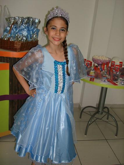 Vestido Elsa Frozen + Coroa + Luva - Tam. 7-9 Anos