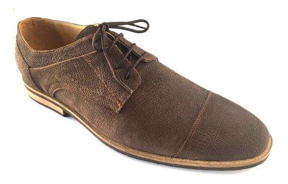 Zapatos Talles Grandes Cuero Grabado Marrón