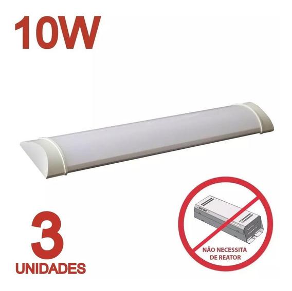 Luminaria Tubular Sobrepor Led Linear 30cm Calha 10w Kit C/3
