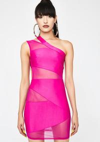 Hot Pink Bodycon Mesh Mini Vestido Con Cortes Muy Sexys