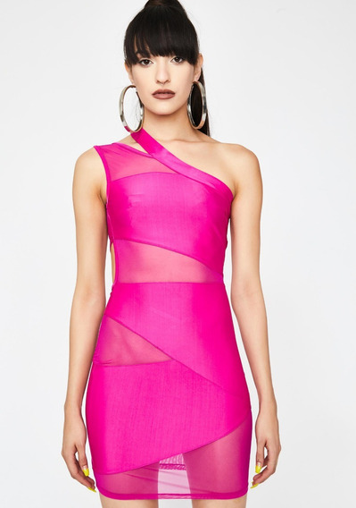 Hot Pink Bodycon Mesh Mini Vestido Con Cortes Sexys M619
