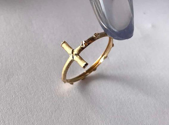 Anel Em Ouro 18k Cruz Tercinho Modelo Exclusivo Zaiajoias
