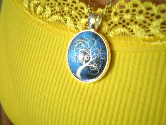 Colar Mandala Árvore Da Vida Branco Azul Novo Frete Grátis