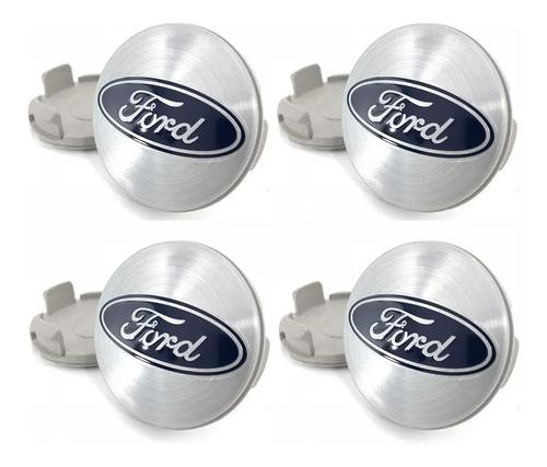 Imagem 1 de 4 de Kit 4 Calota Miolo Tampa Centro Roda Ford Fiesta Focus Prata