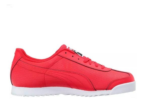 Tenis Puma Roma Basico Perf Jr Casual Urbano En Color Rojo