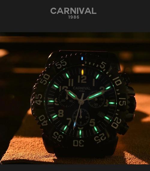 Relógio Militar Luminoso Carnival Com Gás Trítio T-25