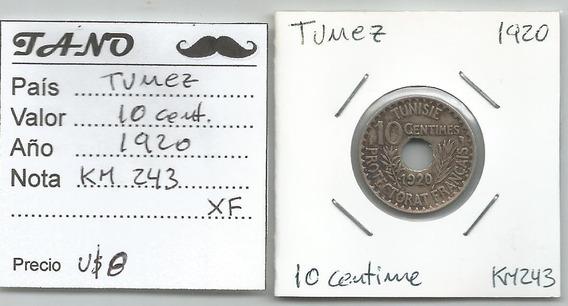 M219 Túnez Moneda 10 Cent. 1920 Km# 243 Xf