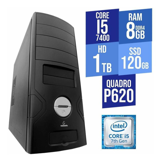Computador Core I5 8gb Ddr4 Hd 1tb + Ssd 120gb Quadro P620