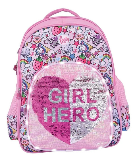 Mochila Girl Hero Footy Lentejuelas Y Led 18p-sharif Express