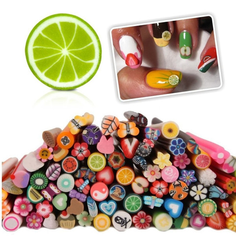 ¡ Kit 12 Fimo Fruta Animal Decoracion Uñas Nail Art New !!